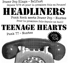 Image Power Pop ! Protex Date Unique / The Headliners / Teenage Hearts Rock/Pop/Folk
